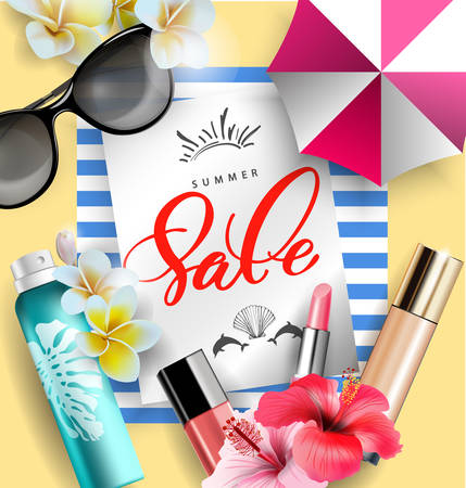 열대 꽃 화장품 썬 스크린 제품. 여름 판매 개념입니다. 태양으로부터 보호를 포함하는 스킨 케어 화장품 제품. 벡터 템플릿