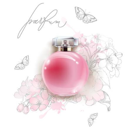 Mooie roze parfumfles met een gevoelige Apple-bloemen en vlinders. 3D illustratie. Vector sjabloon