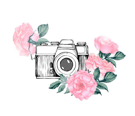 Vintage retro photo camera in flowers, leaves, branches on white background. Hand drawn Vector illustration, 일러스트