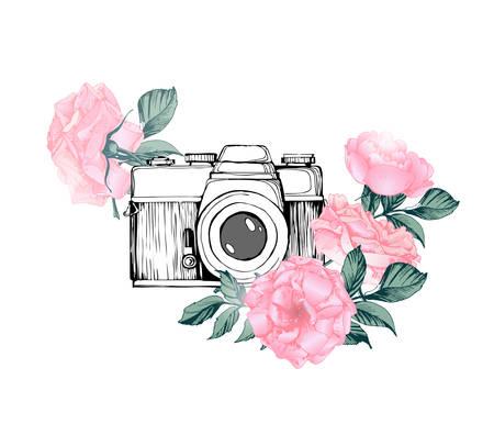 Cámara de fotos retro vintage en flores, hojas, ramas sobre fondo blanco. Dibujado a mano ilustración vectorial,