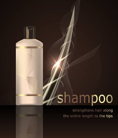 Digital vector shampoo strengthens hair mockup oon a dark background, with your brand, Realistic 3d style Vector template