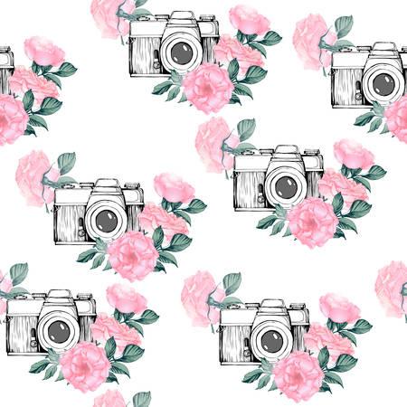 白の背景に写真パターン。手描きの花、葉、ヴィンテージ レトロな写真のカメラとシームレスなテクスチャは、白い背景の枝します。手描きベクト  イラスト・ベクター素材