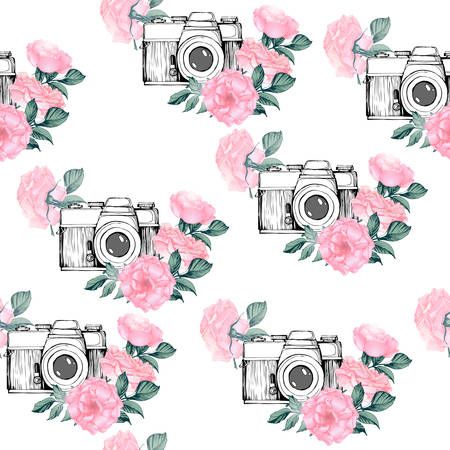 Photo pattern with white background. Hand drawn seamless texture with Vintage retro photo camera in flowers, leaves, branches on white background. Hand drawn Vector illustration,
