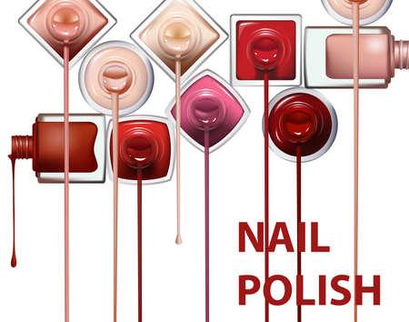 クリッピング パスと白い背景の上の爪のポーランド語流のクローズ アップ。バナー広告、小冊子、雑誌に最適です。ベクトル テンプレート