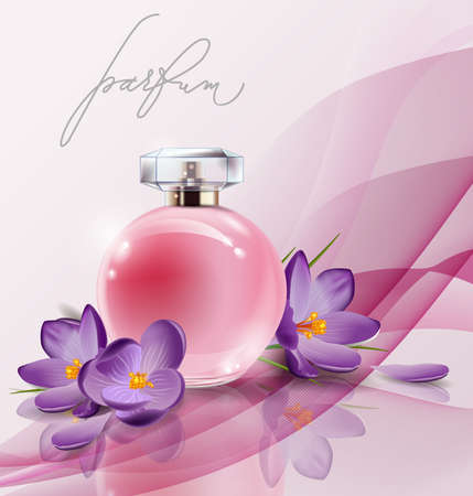 Pink bottle womens perfume with spring flowers crocuses . Vector template Illustration