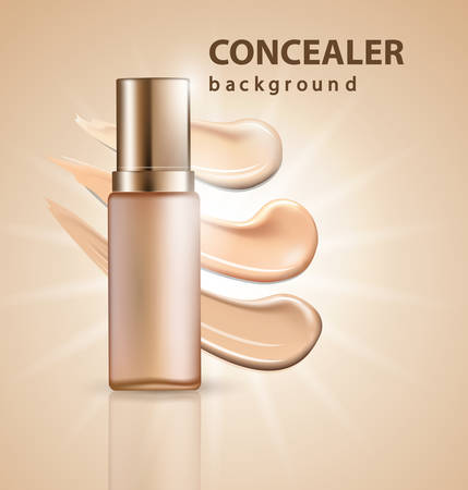 Cosmetic product, Foundation, concealer, cream with smear strokes. Beauty and cosmetics background. Use for advertising flyer, banner, leaflet.Template Vector.