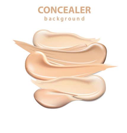 化粧品のコンシーラー塗抹ストロークは、白い背景で隔離、トーン クリーム メイクアップ ベクトル図の色階調パレットの補正を汚されました。テ