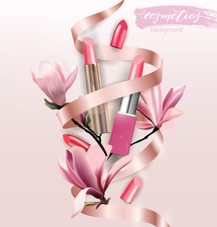 Pink lipstick on white background. Beauty and cosmetics background. Template Vector. Illustration