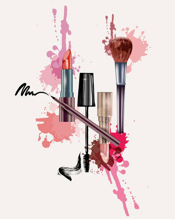 Cosmetics and fashion pattern with make up artist objects: lipstick, mascara eyeliner. With place for your text .Template Vector. Illustration