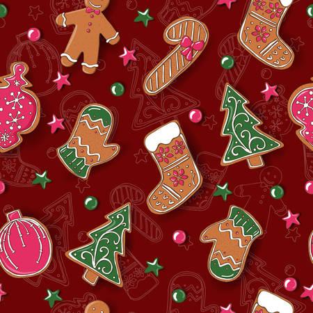 クリスマスクッキーとシームレスなパターン。ベクトル  イラスト・ベクター素材