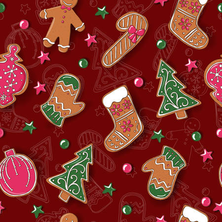 Seamless pattern with Christmas cookies. Vector