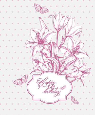wedding reception decoration: Vintage Birthday card with blooming lilies and with butterflies. Use for Boarding Pass, greeting card, invitations, thank you card. Vector illustration.
