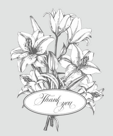 Vintage thank you card with blooming lilies and with butterflies. With place for your text. Use for Boarding Pass, birthday card, invitations Template Vector.