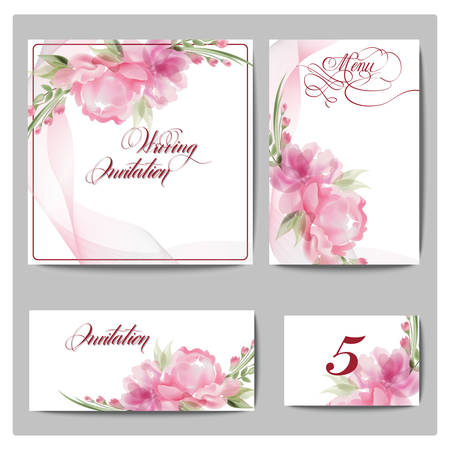 wedding reception decoration: Wedding invitation cards with blooming flowers. Use for Boarding Pass, invitations, thank you card. Template Vector. Illustration