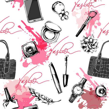 Sfondo moda e cosmetici senza soluzione di continuità con oggetti trucco: orologio da donna, borsa, smalto per unghie, mascara, rossetto, profumo. Illustrazione vettoriale