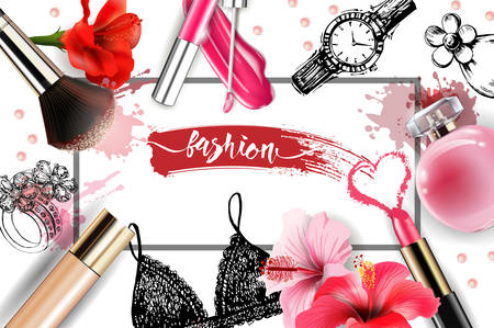 Cosmetics and fashion background with make up artist objects: lipstick, cream, brush. With place for your text .Template Vector. Ilustração