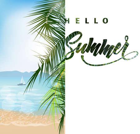 暑假传染媒介例证。海滩,棕榈树美丽全景海视图,与干净的水蓝天。模板矢量。