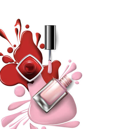 Top view of pink, lilac nail polish on white backdrop beauty and fashion template.