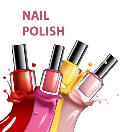 Colorful nail lacquer, nail polish splatter on white backdrop, 3d illustration