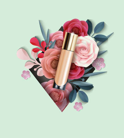 Cosmetic product, Foundation, concealer on the background of beautiful paper flowers. Illustration
