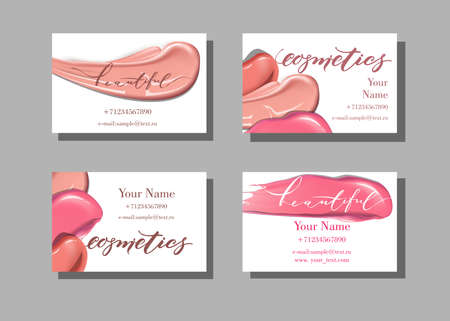 Makeup artist business card vector template with makeup items makeup artist business card vector template with makeup items pattern lipstick stock vector accmission Images