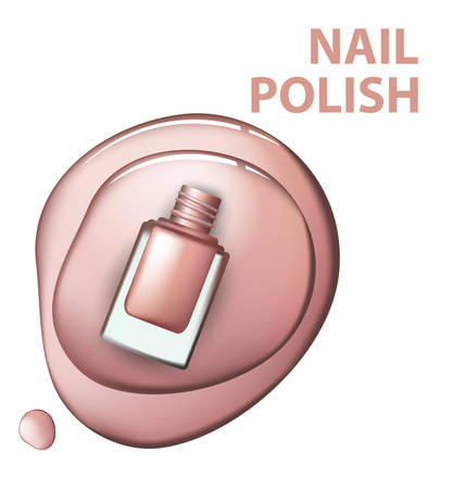 Top view of pink nail polish on white background Cosmetics and fashion background Template Vector.