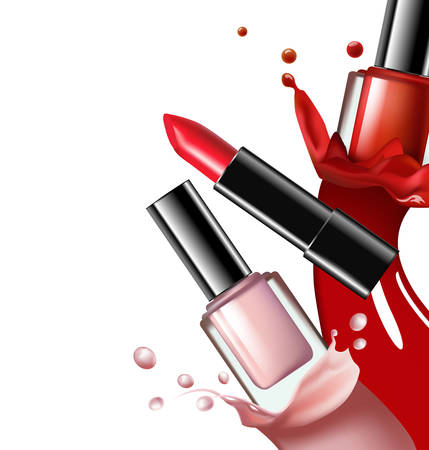 Colorful nail lacquer, nail polish splatterand red lipstick on white background, 3d illustration, vogue ads for design Cosmetics and fashion background Template Vector.