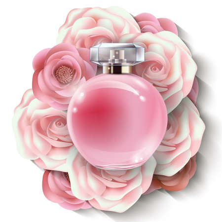 radiant: Pink bottle womens perfume with beautiful paper flowers.Beauty and cosmetics background. Use for advertising flyer, banner, leaflet. Vector. Vector