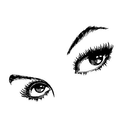 make up model: Hand drawn womens eyes vintage. Beautiful Womans eyes. Vector . Fashion design