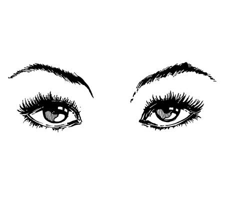 Hand drawn womens eyes vintage. Beautiful Womans eyes. Vector . Fashion design