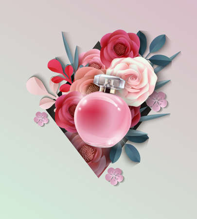 radiant: Beautiful realistic perfume bottle on the background of beautiful paper flowers. Beauty and cosmetics background. Use for advertising flyer, banner, leaflet.Template Vector. Illustration