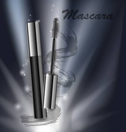 Cosmetics beauty series, ads of premium mascara on a dark background, vector illustration.