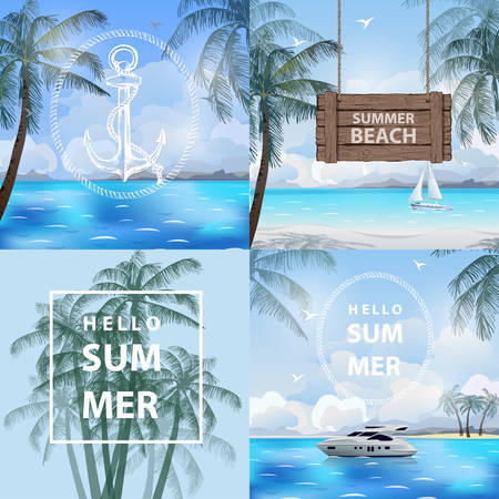 Set of banners summer, sea, travel. Summer holidays vector illustration, beach,beautiful sailboat,pleasure boat, palm trees beautiful panoramic sea view, Vector. Illustration