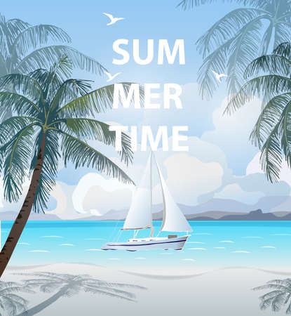 Summer holidays vector illustration. Beach, beautiful sailboat, palm trees, beautiful panoramic sea view, Vector.
