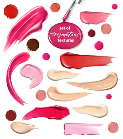 Collection of various Smears lipstick, drops of nail Polish on white background. Beauty and cosmetics background. Use for advertising flyer, banner, leaflet. Template Vector.