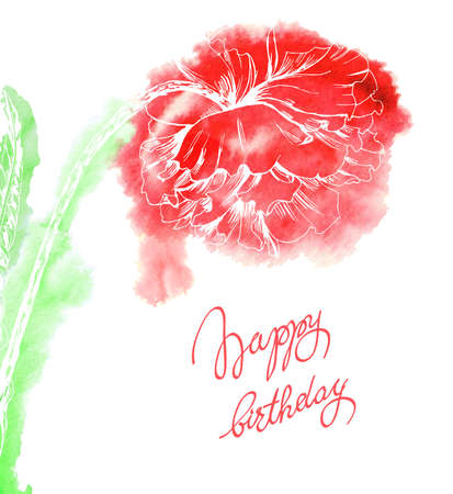 Watercolor Red Poppies, floral garland, isolated on white background template Vector.