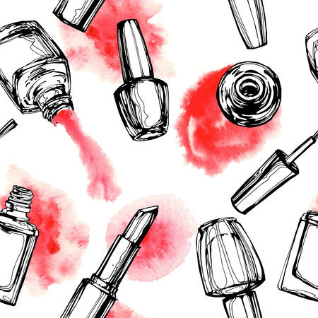 Watercolor seamless pattern with nail polish. Vector illustration. Illustration