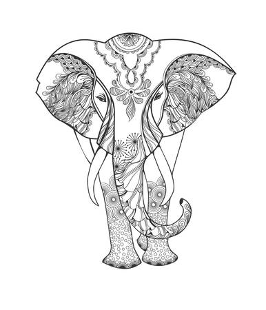 reiki: Zentangle animal. Stylized fantasy patterned elephant. Hand drawn vector illustration isolated on white background. Template Vector.