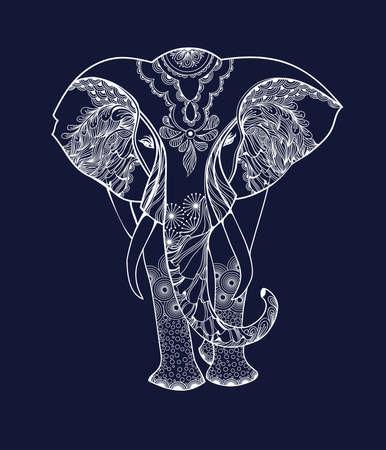 reiki: Stylized fantasy patterned elephant. Hand drawn vector illustration isolated on white background.