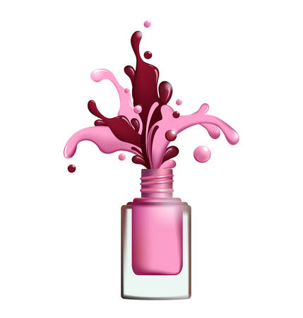 Splashes of nail polish froze in motion on white background Vector template for your designs, brochures, ads,banners