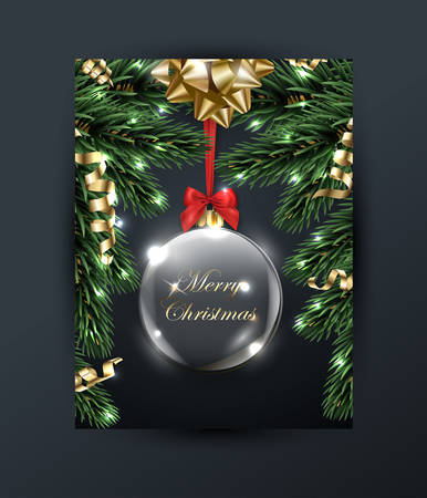 Merry Christmas and Happy New Year greeting card with with Christmas branches, with gold bow, with Christmas transparent glass ball, decorations on dark background Vector illustration