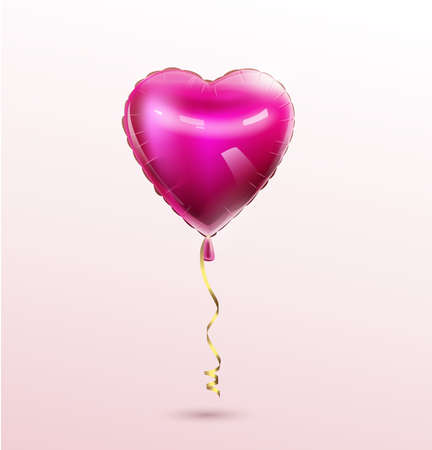 3D Heart balloon isolated on white background. Vector festive decoration for Valentines Day, Womans Day Birthday, Mothers day greeting card poster banner design Template balloon Wedding Anniversary Illustration