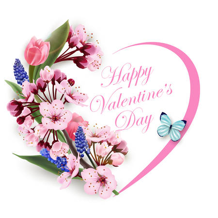 Greeting card happy Valentines day with a wreath of delicate flowers pink Magnolia with blue butterfly. Template for birthday cards, mothers day card, spring background, banner, invitations. Vector.