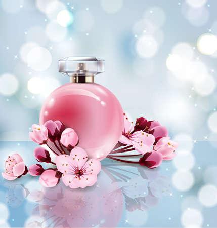 Sakura-Parfümanzeigen, realistisches Artparfüm in einer Glasflasche auf unscharfem blauem Hintergrund mit bokeh mit Kirschblüte-Blumen. Großes Werbungsplakat für die Förderung einer neuen Duftvektorschablone.