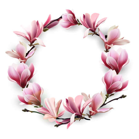 Wreath of delicate flowers pink Magnolia. Template for birthday cards, mothers day card, Greeting card happy Valentines day, spring background, banner, invitations. Vector