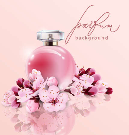 Sakura realistic style perfume in a glass bottle vector illustration