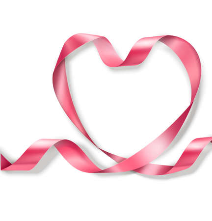 Happy Valentines Day. Pink Ribbon Heart on white background. Valentines Day concept Banque d'images