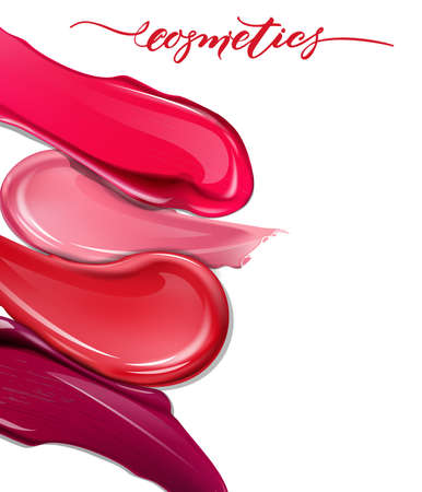 Smears lipstick on white background. Cosmetics commercial, beautiful style. Exquisite smear, glamorous magazine, beauty concept. Realistic mock-up, vector illustration.