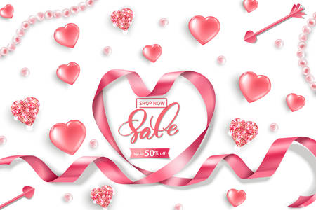Valentines Day sale web banner. Top view on composition with pink glittering hearts, pink pearls, heart pink ribbon. Vector template