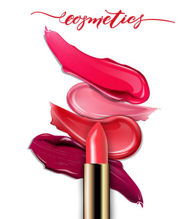 Broken lipsticks closeup and smears lipstick on white background. Cosmetics commercial, beautiful style. Exquisite smear, glamorous magazine, beauty concept. Realistic mockup, vector illustration.